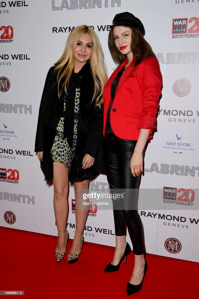 Zara Martin and Tali Lennox attends the Raymond Weil pre-Brit Awards dinner and 20th anniversary celebration of War Child at The Mosaica on January 24, 2013 in London, England.