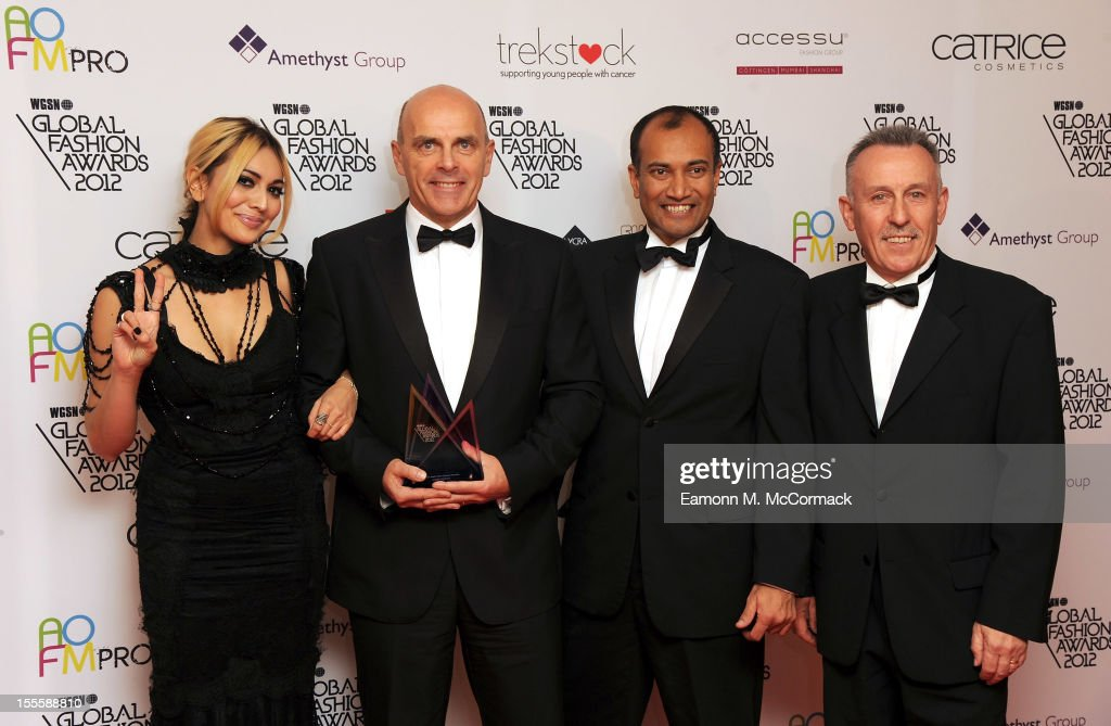 Zara Martin, CFO of Aurora Fashions Richard Glanville and guests with their award during the WGSN Global Fashion Awards at The Savoy Hotel on November 5, 2012 in London, England.