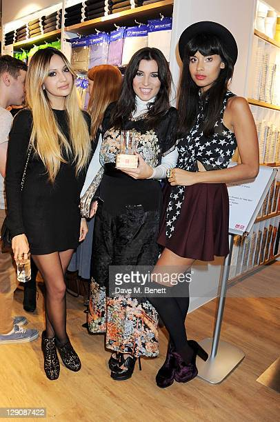 Zara Martin Grace Woodward and Jameela Jamil attend the reopening of the UNIQLO London Flagship Store on Regent Street on October 12 2011 in London...