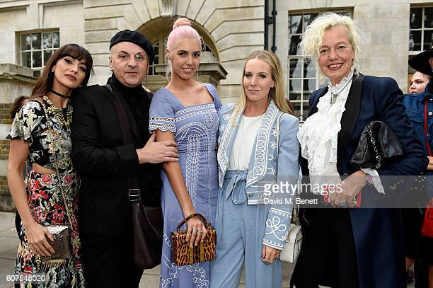 Zara Martin Sascha Lilic model Amber Le Bon Alice NaylorLeyland and photographer Ellen von Unwerth attend the Temperley London show at London Fashion...