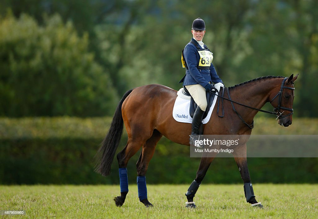 Zara Philips warms up prior to competing in the dressage phase of the Whatley Manor International Horse Trials at Gatcombe Park on September 12, 2015 in Stroud, England.