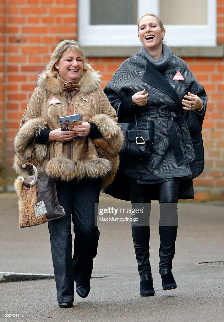 Zara Phillips accompanied by Belinda Keighley (L) attends the Christmas Racing Meet at Ascot Racecourse where her horse 'Somewhere To Be' ran in The Winning Post Bookmakers Bristol 'National Hunt' Maiden Hurdle Race on December 16, 2016 in Ascot, England.