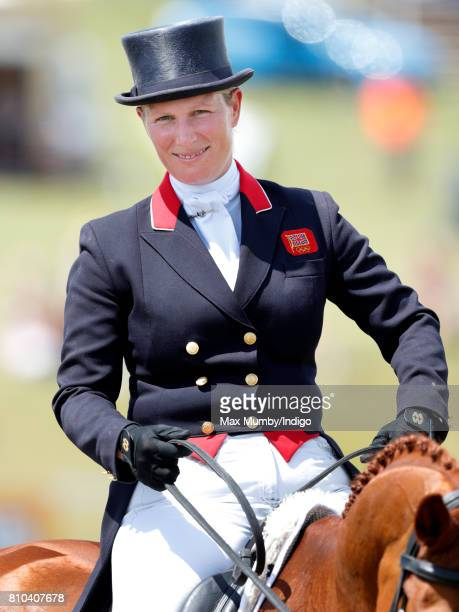 Zara Phillips after competing in the dressage phase of the Barbury International Horse Trials on July 7 2017 in Marlborough England