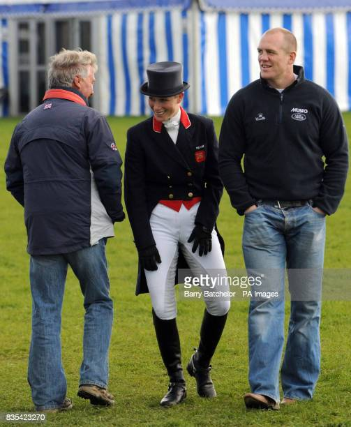 Zara Phillips and boyfriend Mike Tindall after she had completed the dressage on her horse Toytown in the Mitsubishi Motors Badminton Horse Trials