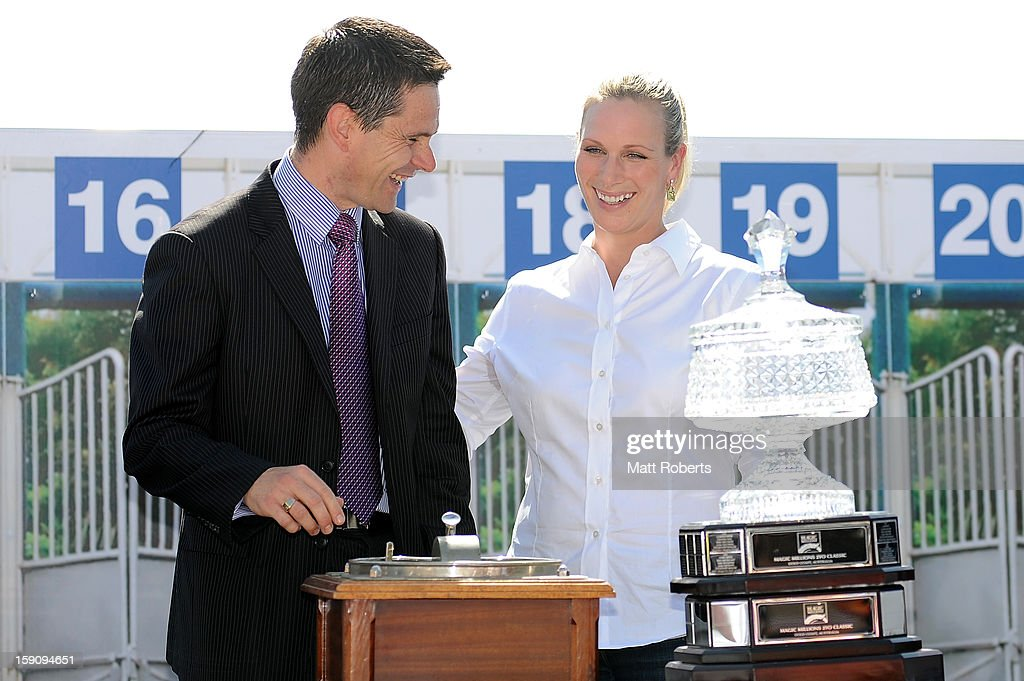 <a gi-track='captionPersonalityLinkClicked' href=/galleries/search?phrase=Zara+Phillips&family=editorial&specificpeople=161323 ng-click='$event.stopPropagation()'>Zara Phillips</a> and Daniel Aurisch draw the first barrier during the Magic Millions Barrier Draw on January 8, 2013 in Surfers Paradise, Australia.