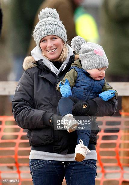 Zara Phillips and daughter Mia Tindall attend the Heythrop Hunt PointtoPoint horse racing meet at Cocklebarrow Racecourse on January 25 2015 near...