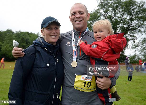 Zara Phillips and daughter Mia Tindall pose for a photograph after husband Ex England rugby star Mike Tindall finished the grueling Artemis Great...