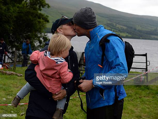 Zara Phillips and daughter Mia Tindall support husband Ex England rugby star Mike Tindall during the grueling Artemis Great Kindrochit Quadrathlon in...