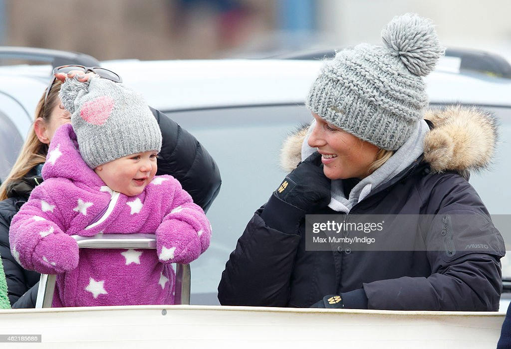 <a gi-track='captionPersonalityLinkClicked' href=/galleries/search?phrase=Zara+Phillips&family=editorial&specificpeople=161323 ng-click='$event.stopPropagation()'>Zara Phillips</a> and daughter <a gi-track='captionPersonalityLinkClicked' href=/galleries/search?phrase=Mia+Tindall&family=editorial&specificpeople=12480820 ng-click='$event.stopPropagation()'>Mia Tindall</a> watch the racing as they attend the Heythrop Hunt Point-to-Point horse racing meet at Cocklebarrow Racecourse on January 25, 2015 near Northleach, England.