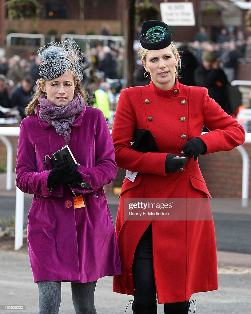 <a gi-track='captionPersonalityLinkClicked' href=/galleries/search?phrase=Zara+Phillips&family=editorial&specificpeople=161323 ng-click='$event.stopPropagation()'>Zara Phillips</a> (R) and friend attends day 2 of the Cheltenham Festival at Cheltenham Racecourse on March 13, 2013 in Cheltenham, England.