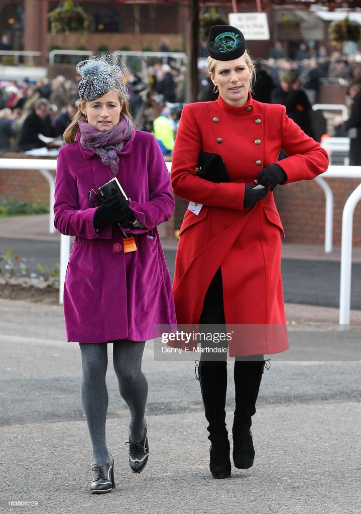 Zara Phillips (R) and friend attends day 2 of the Cheltenham Festival at Cheltenham Racecourse on March 13, 2013 in Cheltenham, England.