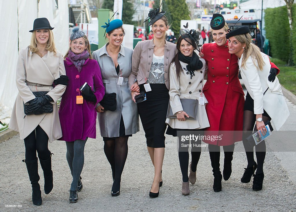 <a gi-track='captionPersonalityLinkClicked' href=/galleries/search?phrase=Zara+Phillips&family=editorial&specificpeople=161323 ng-click='$event.stopPropagation()'>Zara Phillips</a> (2R) and friends attend the Cheltenham Festival Day 2 on Ladies Day at Cheltenham racecourse on March 13, 2013 in London, England.