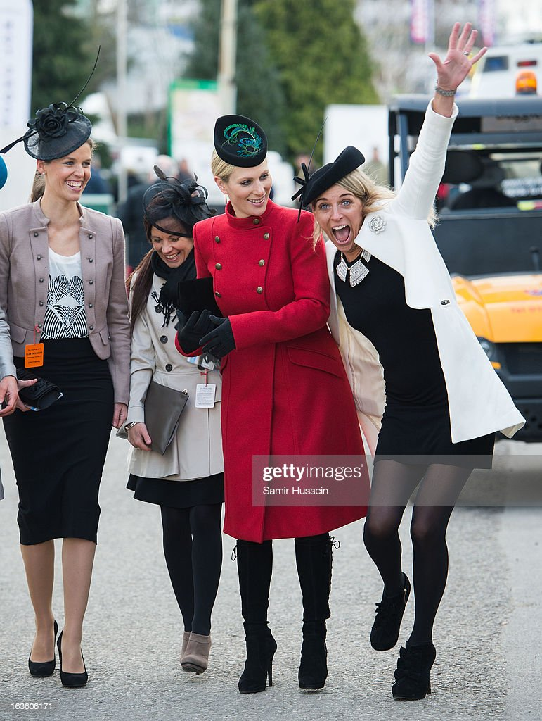 Zara Phillips (2R) and friends attend the Cheltenham Festival Day 2 on Ladies Day at Cheltenham racecourse on March 13, 2013 in London, England.