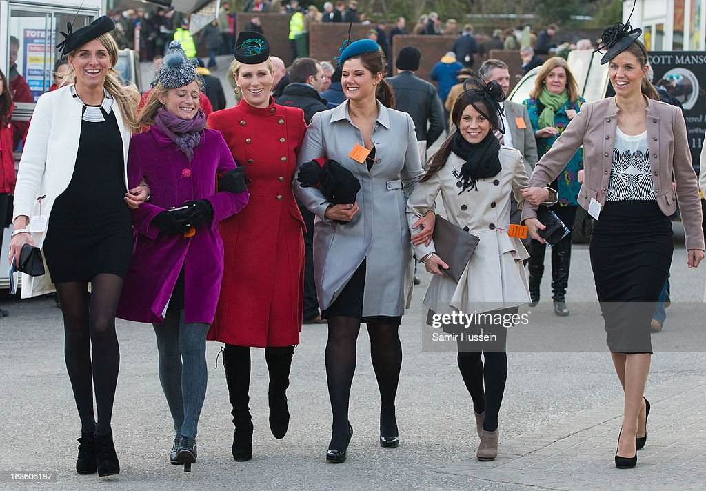 <a gi-track='captionPersonalityLinkClicked' href=/galleries/search?phrase=Zara+Phillips&family=editorial&specificpeople=161323 ng-click='$event.stopPropagation()'>Zara Phillips</a> (3L) and friends attend the Cheltenham Festival Day 2 on Ladies Day at Cheltenham racecourse on March 13, 2013 in London, England.