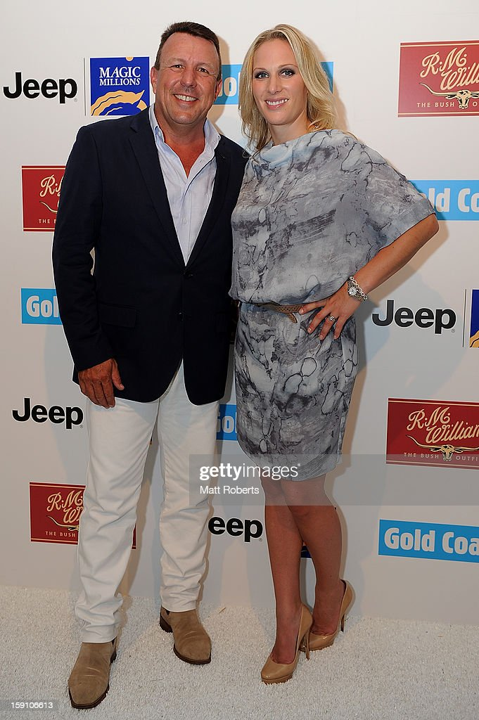 <a gi-track='captionPersonalityLinkClicked' href=/galleries/search?phrase=Zara+Phillips&family=editorial&specificpeople=161323 ng-click='$event.stopPropagation()'>Zara Phillips</a> and Hamish Turner pose during the Magic Millions Opening Night cocktail party at Surfers Paradise foreshore on January 8, 2013 in Surfers Paradise, Australia.