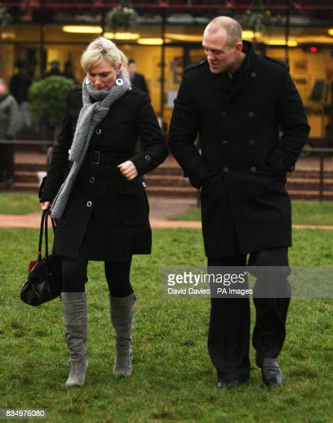 Zara Phillips and her boyfriend Mike Tindall at the New Year's Day races at Cheltenham Racecourse Gloucestershire