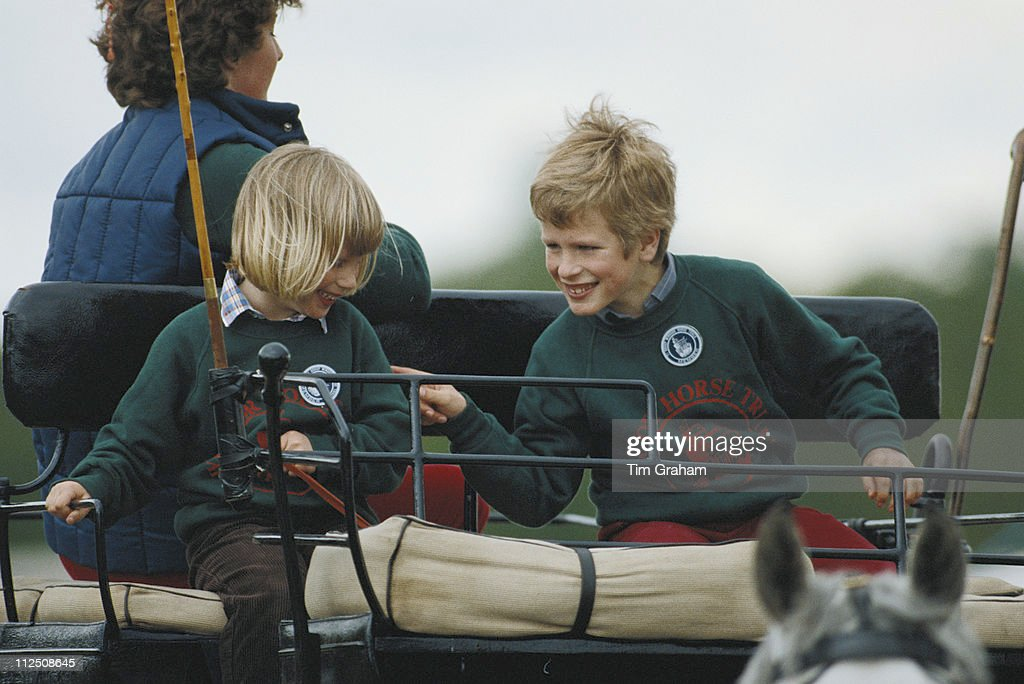 Zara Phillips And Her Brother Peter Riding A Carriage At The Royal Windsor Horse Show