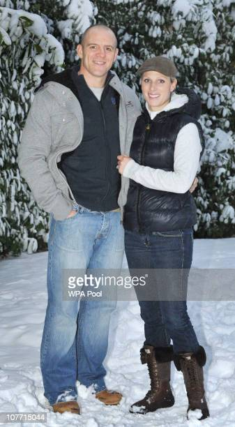 Zara Phillips and her fiance Mike Tindall pose at their Gloucestershire home after they announced their engagement on December 21 2010 in Gloucester...