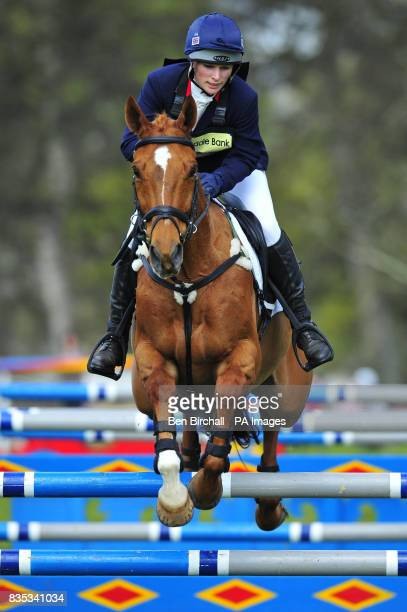 Zara Phillips and her horse Secret Legacy compete in the Show Jumping event at Powderham Castle Horse Trials in Exeter