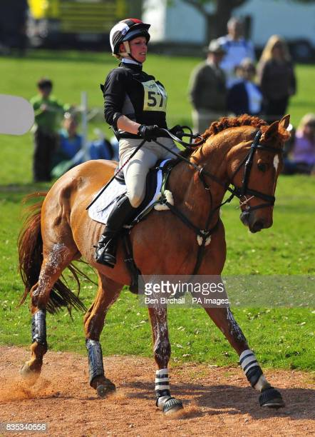 Zara Phillips and her horse Secret Legacy nearly fall at jump 17 during the Cross Country event at Powderham Castle Horse Trials in Exeter