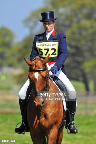 Zara Phillips and her horse Secret Legacy prepare to take part in the dressage event during the Powderham Castle Horse Trials in Exeter