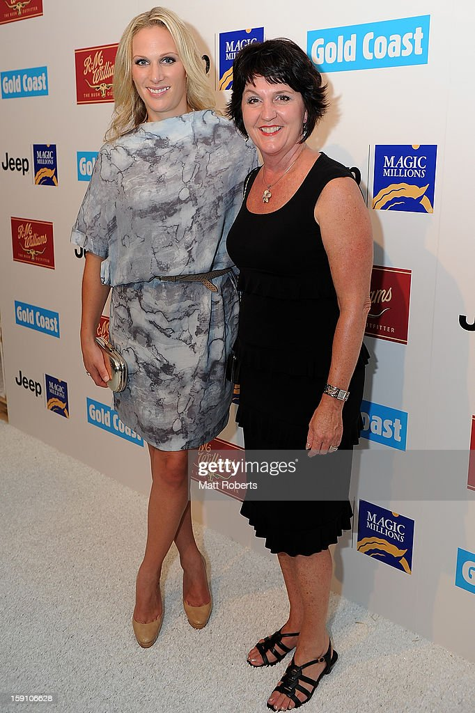 <a gi-track='captionPersonalityLinkClicked' href=/galleries/search?phrase=Zara+Phillips&family=editorial&specificpeople=161323 ng-click='$event.stopPropagation()'>Zara Phillips</a> and Jann Stuckey pose during the Magic Millions Opening Night cocktail party at Surfers Paradise foreshore on January 8, 2013 in Surfers Paradise, Australia.