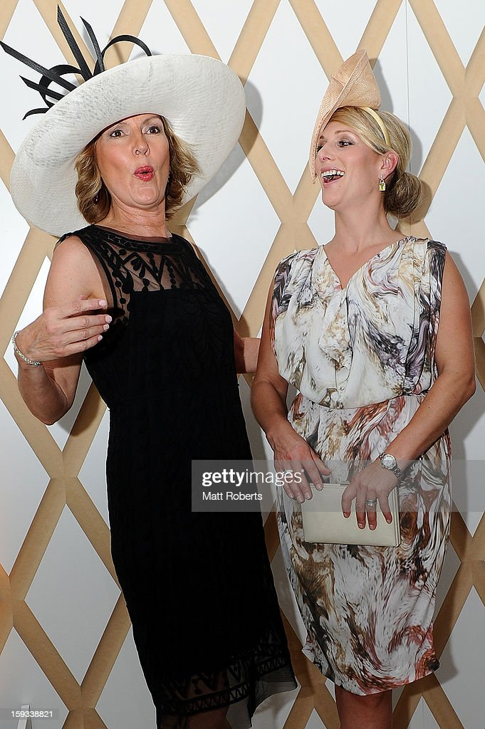 <a gi-track='captionPersonalityLinkClicked' href=/galleries/search?phrase=Zara+Phillips&family=editorial&specificpeople=161323 ng-click='$event.stopPropagation()'>Zara Phillips</a> and Katie Page-Harvey attend Magic Millions Raceday at Gold Coast Turf Club on January 12, 2013 on the Gold Coast, Australia.