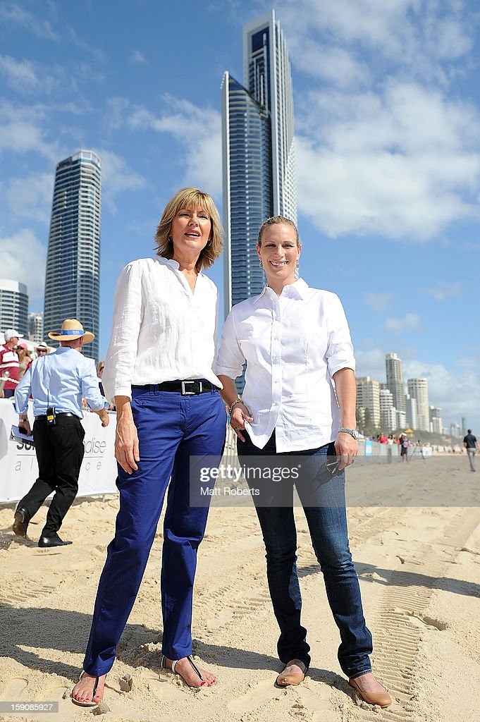 <a gi-track='captionPersonalityLinkClicked' href=/galleries/search?phrase=Zara+Phillips&family=editorial&specificpeople=161323 ng-click='$event.stopPropagation()'>Zara Phillips</a> and Katie Page-Harvey (L) pose for a photograph before the Magic Millions Barrier Draw on January 8, 2013 in Surfers Paradise, Australia.