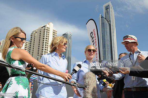 Zara Phillips and Katie PageHarvey speak to media before the Magic Millions Barrier Draw on January 6 2015 on the Gold Coast Australia