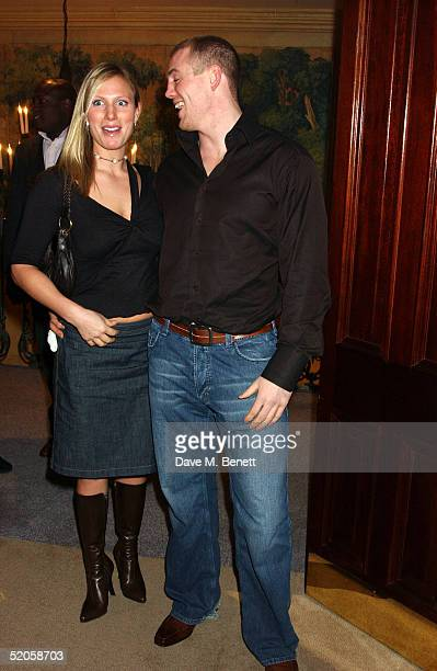 Zara Phillips and Mike Tindall are seen at the Celebrity Screening for the film 'Meet The Fockers' at the Covent Garden Hotel on January 24 2005 in...