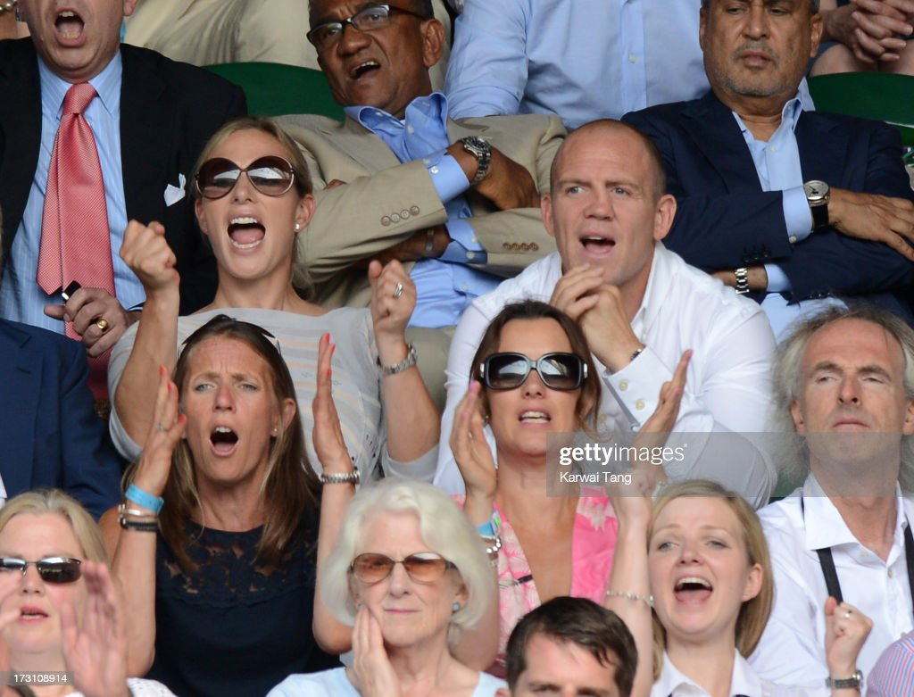 <a gi-track='captionPersonalityLinkClicked' href=/galleries/search?phrase=Zara+Phillips&family=editorial&specificpeople=161323 ng-click='$event.stopPropagation()'>Zara Phillips</a> and <a gi-track='captionPersonalityLinkClicked' href=/galleries/search?phrase=Mike+Tindall&family=editorial&specificpeople=204210 ng-click='$event.stopPropagation()'>Mike Tindall</a> attend the Men's Singles Final between Novak Djokovic and Andy Murray on Day 13 of the Wimbledon Lawn Tennis Championships at the All England Lawn Tennis and Croquet Club on July 7, 2013 in London, England.