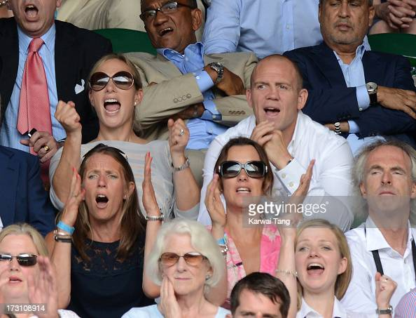 Zara Phillips and Mike Tindall attend the Men's Singles Final between Novak Djokovic and Andy Murray on Day 13 of the Wimbledon Lawn Tennis...