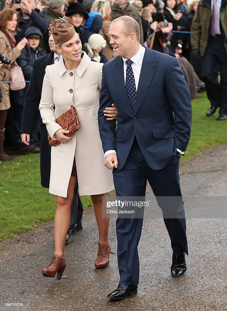 Zara Phillips and Mike Tindall attend the traditional Christmas Day church service at St Mary Magdalene Church, Sandringham on December 25, 2012 near King's Lynn, England.