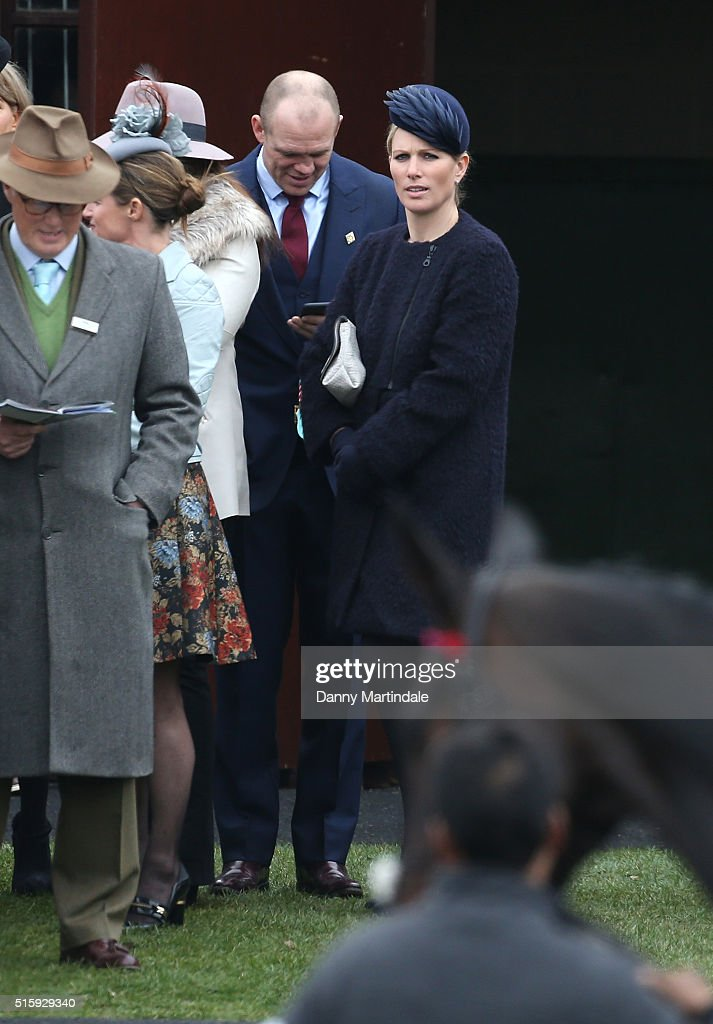 Zara Phillips and Mike Tindall attends Ladies Day, the second day of the Cheltenham Festival at Cheltenham Racecourse on March 16, 2016 in Cheltenham, England.