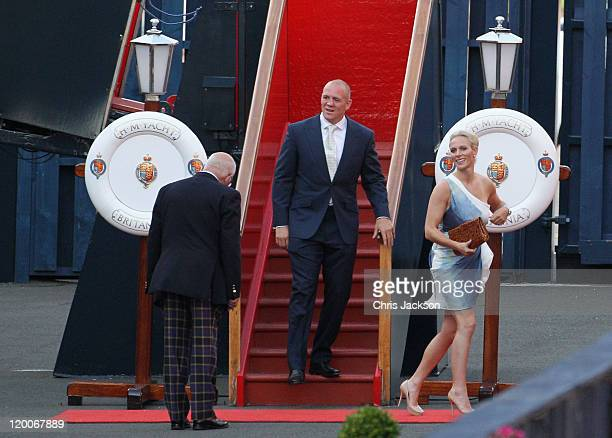 Zara Phillips and Mike Tindall keave their pre wedding party on the Britannia on July 29 2011 in Edinburgh Scotland The Queen's granddaughter Zara...