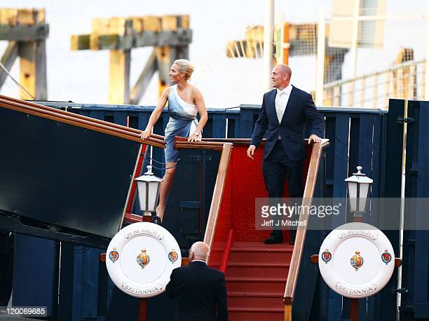 Zara Phillips and Mike Tindall leave their pre wedding party on the Britannia on July 29 2011 in Edinburgh Scotland The Queen's granddaughter Zara...