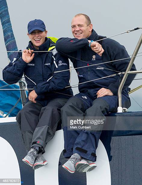 Zara Phillips and Mike Tindall take part in the Artemis Challenge on August 13 2015 in Cowes England