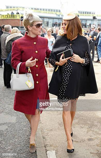Zara Phillips and Natalie Pinkham attend day 3 'Grand National Day' of the Crabbie's Grand National Festival at Aintree Racecourse on April 9 2016 in...