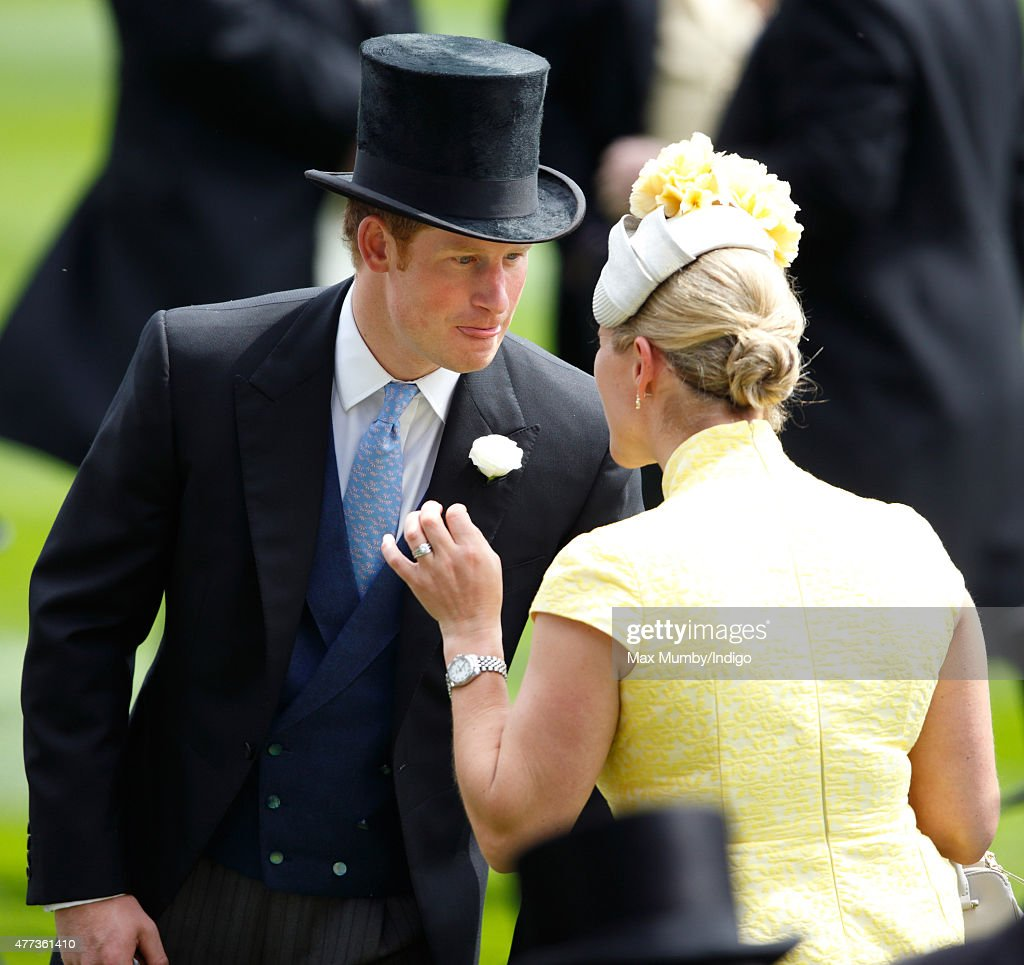 Zara Phillips and Prince Harry attend day 1 of Royal Ascot at Ascot Racecourse on June 16, 2015 in Ascot, England.