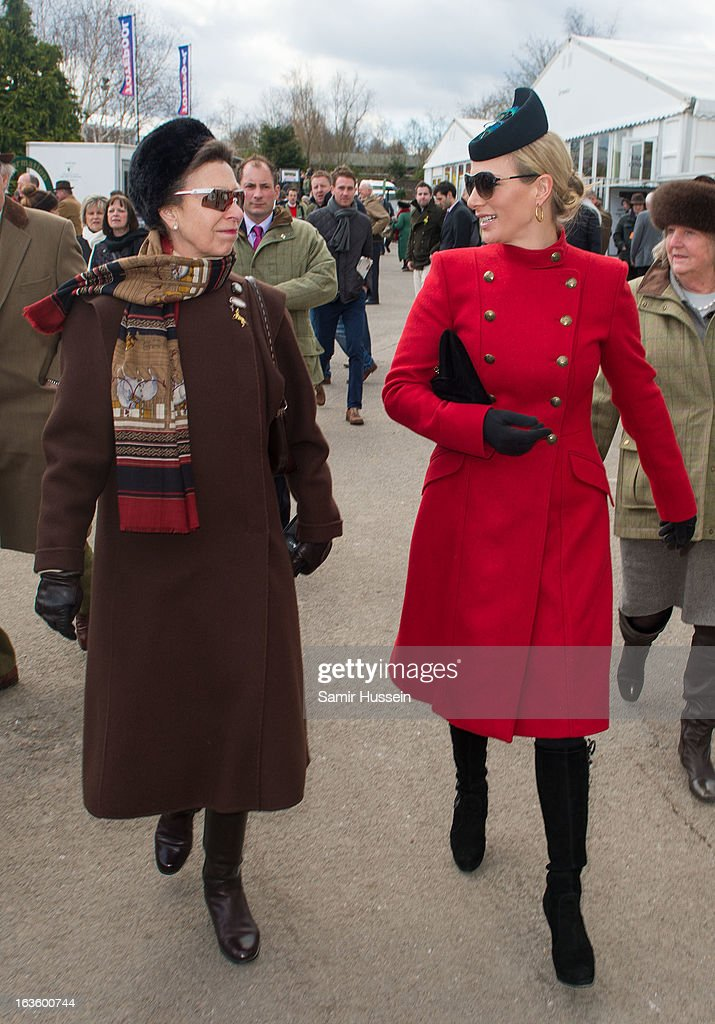 <a gi-track='captionPersonalityLinkClicked' href=/galleries/search?phrase=Zara+Phillips&family=editorial&specificpeople=161323 ng-click='$event.stopPropagation()'>Zara Phillips</a> and Princess Anne, Princess Royal attend the Cheltenham Festival Day 2 on Ladies Day at Cheltenham racecourse on March 13, 2013 in London, England.
