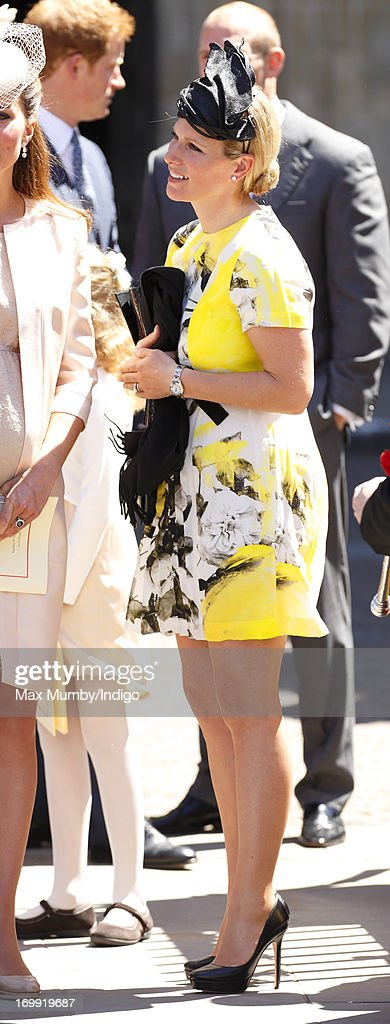 Zara Phillips attends a service of celebration to mark the 60th anniversary of the Coronation of Queen Elizabeth II at Westminster Abbey on June 4, 2013 in London, England. The Queen's Coronation took place on June 2, 1953 after a period of mourning for her father King George VI, following her ascension to the throne on February 6, 1952. The event 60 years ago was the first time a coronation was televised for the public.