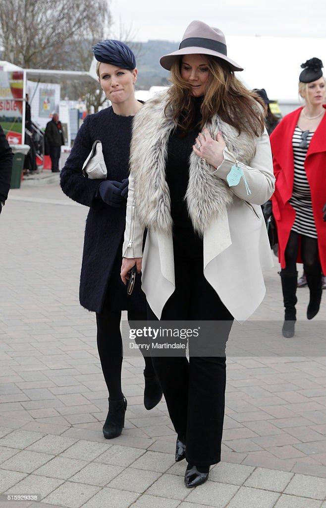 Zara Phillips attends Ladies Day, the second day of the Cheltenham Festival at Cheltenham Racecourse on March 16, 2016 in Cheltenham, England.