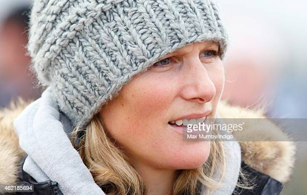 Zara Phillips attends the Heythrop Hunt PointtoPoint horse racing meet at Cocklebarrow Racecourse on January 25 2015 near Northleach England