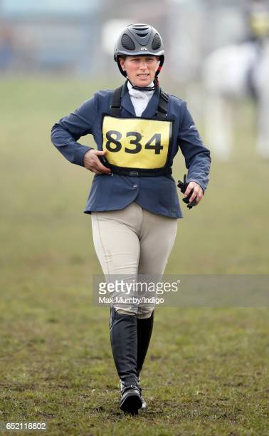 Zara Phillips attends the Tweseldown Horse Trials at which she is competing on seven of her horses at Tweseldown Racecourse on March 11 2017 in Fleet...