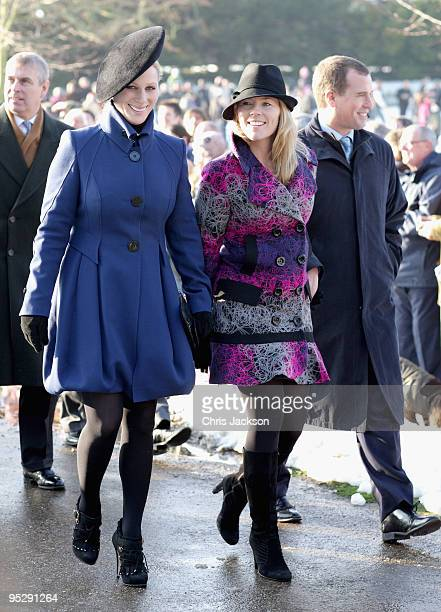 Zara Phillips Autumn Phillips and Peter Phillips leave the Christmas Day service at Sandringham Church on December 25 2009 in King's Lynn England The...