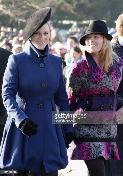 25 Zara Phillips Autumn Phillips and Peter Phillips leave the Christmas Day service at Sandringham Church on December 25 2009 in King's Lynn England...