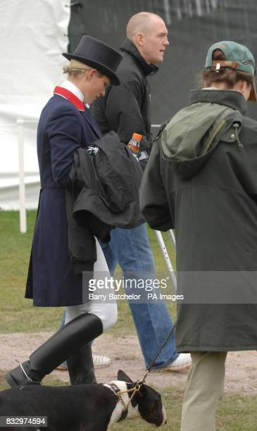 Zara Phillips boyfriend Mike Tindall and Princess Anne after Zara had competed on Toytown in the dressageat the Mitsubishi Motors Badminton Horse...