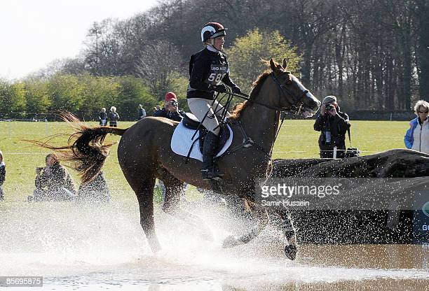 Zara Phillips competes on Ardfield Magic Star at the water jump during day 2 of the Gatcombe Horse Trials on March 29 2009 at Gatcombe Park Stroud...