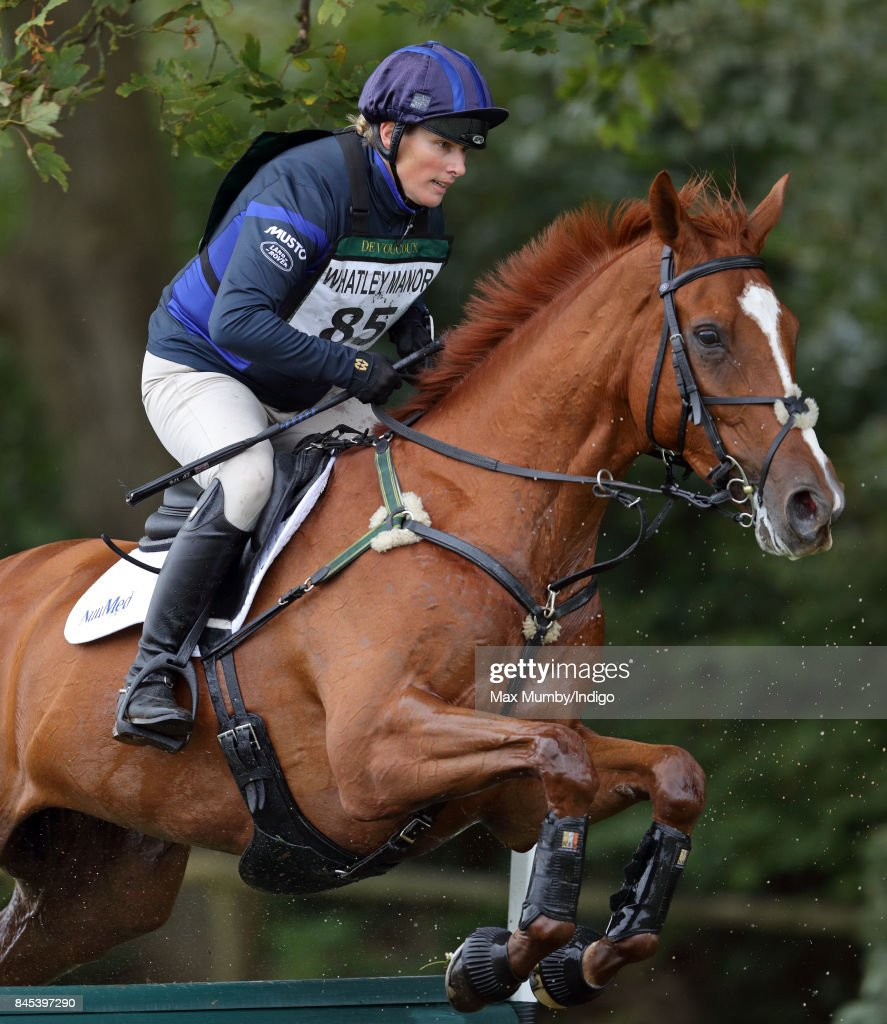 Zara Phillips competes on her horse 'Drops of Brandy' in the cross country phase of the Whatley Manor Horse Trials at Gatcombe Park on September 10, 2017 in Stroud, England.