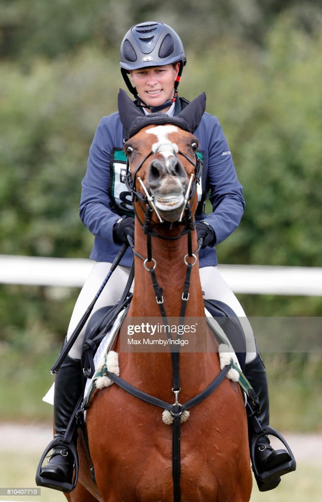 Zara Phillips competes on her horse 'Drops of Brandy' in the showjumping phase of the Barbury International Horse Trials on July 7, 2017 in Marlborough, England.